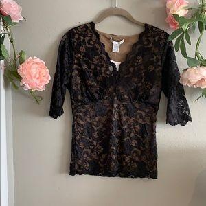CAbi NWT black lace top size medium